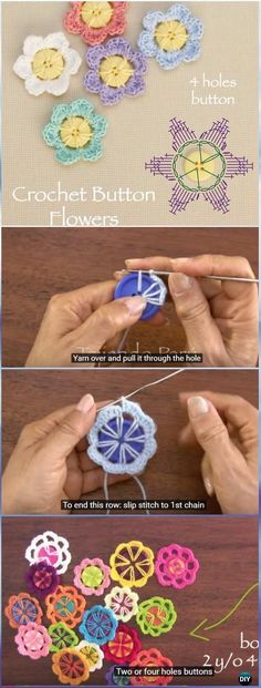 Crochet Flowers Ideas Crochet Button Flower Free Pattern Chart[Video] - Crochet Button Flower Free Pattern [Video] Crochet flowers using buttons as base, original and creative to hook on for beginners and play for the seasoned Crochet Flower Patterns, Crochet Motif, Crochet Flowers, Knit Crochet, Diy Flowers, Crochet Ideas, Crochet Crafts, Yarn Crafts, Yarn Projects