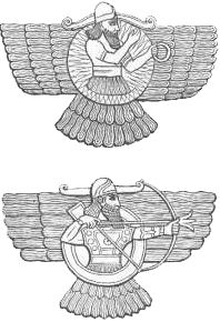 Dios Assur representado como un disco solar alado. Un nuevo modelo iconográfico previvirá durante todo el Ier Milenio. Uno de ellos es la representación del dios Assur como un disco solar alado, similar a como los egipcios representaban al dios Horus. Se intenta emular el prestigio de la realeza egipcia. Algunas teorías dicen que esta iconografía tb podría proceder de Imdugud, el águila leontocéfala sumeria que encerraba significados referentes a la guerra.