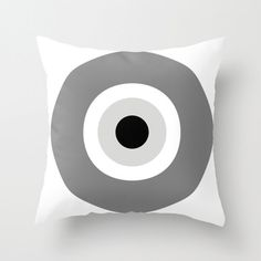"Monochrome Evil Eye Cushion Cover - grey, black, white pillow/cushion cover by gorgeous graphic design. 40 x 40 cm (16"" x 16"")."