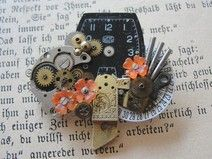 Steampunk - Brosche aus alten Uhrenteilen