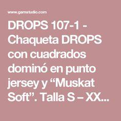 """DROPS 107-1 - Chaqueta DROPS con cuadrados dominó en punto jersey y """"Muskat Soft"""". Talla S – XXXL  - Patrón gratuito de DROPS Design"""