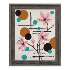 """Click Wall Art Winding Flowers and Moons Framed Painting Print on Canvas Size: 27.5"""" H x 23.5"""" W x 1"""" D"""
