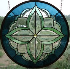 """stained glass window panel """"BEAUTIFUL BEVELS """" beveled glass, vintage jewel, hand blown glass, teals & greens, sun catcher"""