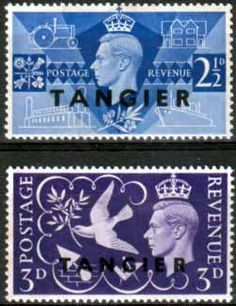 Morocco Agencies Tangier 1946 King George VI Victory Set Fine Mint SG 253 4 Scott 523 4 Other Tangier Stamps HERE