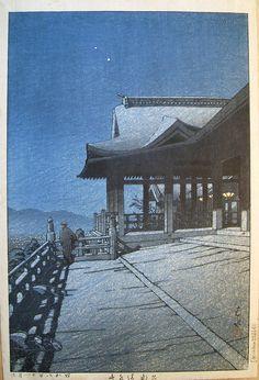 Woodblock / Kawase Hasui    Kiyomizo Temple, Kyoto  November 1933  Kawase Hasui (1883-1957)