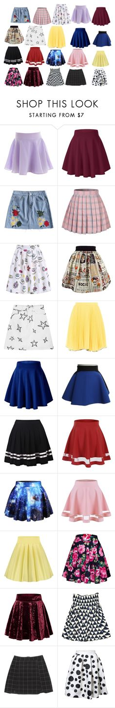 """mini skirts/skater skirts"" by chloegreen-33 ❤ liked on Polyvore featuring Être Cécile, Boutique Moschino, FAUSTO PUGLISI, WithChic and Prada"