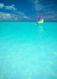 The Caribbean  (the water IS THIS COLOR!)