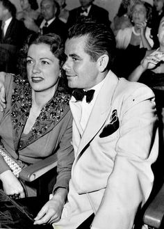 """Eleanor Powell with husband Glenn Ford  at an event, 1952."""