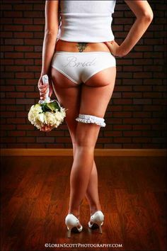 Love the simplicity... garter, flowers, and undies say it all: here comes the #bride!