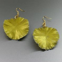 Eye-catching Yellow Anodized Aluminum Lily Pad Earrings Featured on #Etsy #AluminumEarrings #Aluminum https://www.etsy.com/listing/181746830/yellow-anodized-aluminum-lily-pad