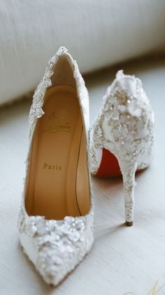 beautiful wedding shoes with floral details