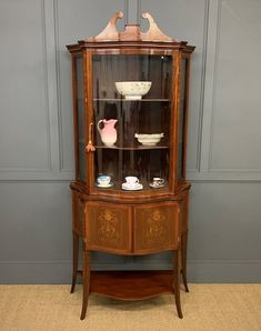 Edwards And Roberts Serpentine Display Cabinet - Antiques Atlas Antique Display Cabinets, Cupboard Doors, Marquetry, Cabinet Makers, Antique Furniture, Restoration, The Originals, Antiques, Interior