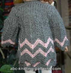 ABC Knitting Patterns - American Girl Doll Chevron Jacket