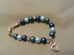 Calming Blue glass Pearl bracelet