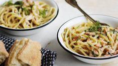 Savulohispagetti Smoked Salmon Pasta, Tasty, Yummy Food, Fusilli, Pasta Dishes, Pasta Food, Ricotta, Pasta Recipes, Love Food