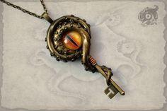 Key to R'lyeh Kraken eye pendant  Antique by TheArkanaWorkshop