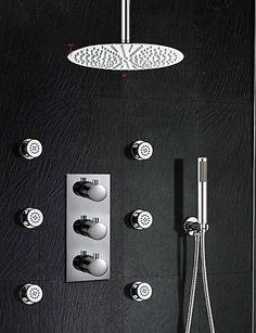 General 12 Wall Mounted Thermostatic Mixer Valve Rainfall Bathroom Shower  Tap Conceal Install Shower Set With
