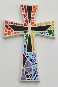 Mosaic Wall Cross White with Rainbow Black by GreenBananaMosaicCo