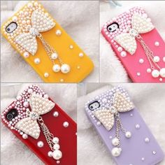 Amazon.com: S9D New 3D Bow Bling Crystal pearl Hard Skin Back Case Cover For iPhone 4 4G 4S: Cell Phones & Accessories $8.00
