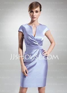 Mother of the Bride Dresses - $128.99 - Sheath V-neck Knee-Length Satin Mother of the Bride Dress With Ruffle (008006208) http://jjshouse.com/Sheath-V-Neck-Knee-Length-Satin-Mother-Of-The-Bride-Dress-With-Ruffle-008006208-g6208