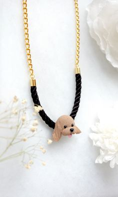 For animal lover - handmade copy of your peT <3      Cocker Spaniel Big Head Necklace Handmade Animal Clay