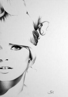 Brigitte Bardot Pencil Drawing Fine Art Portrait by IleanaHunter, $12.99