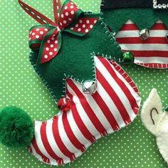 Elf Felt Ornaments / Christmas Elf Tree ornaments / Elf Whimsical Xmas Decoration / Set of 3 / Handmade and Design in Felt - Fabric Christmas Tree Garland, Felt Christmas Decorations, Felt Christmas Ornaments, Christmas Stockings, Christmas Crafts, Diy Ornaments, Pallet Christmas, Christmas Truck, Glitter Ornaments