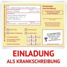 Einladungskarten Als Krankschreibung Online Bestellen!