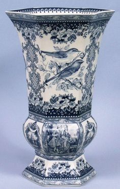Vintage blue and white porcelain vase
