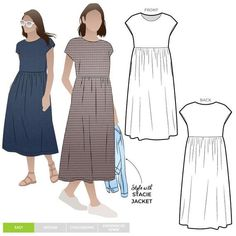 Montana Midi Dress Sewing Pattern PDF – PDF Dress Sewing Patterns – Style Arc Midi length high waisted pull on dress with an extended shoulder line. Simple Dress Pattern, Summer Dress Patterns, Dress Making Patterns, Linen Dress Pattern, Mccalls Dress Patterns, Dress Pattern Free, Pattern Fabric, Shift Dress Patterns, Dress Patterns Women