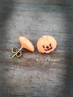 Glow in the Dark Polymer Clay Pumpkin Post Earrings by TNTPatterns on Etsy
