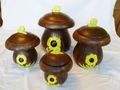 Vintage Canister Set Mushrooms Ceramic Brown Yellow by KathiJanes, $19.95
