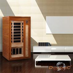Dynamic 1-2 Person Carbon Hemlock Sauna  6 Dynamic Carbon Energy Efficient Heating Panels, Dual Interior/Exterior LED Control Panels