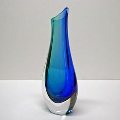 vases with teal, red gold, blue, gold | Unique Czech Vase (blue-turquoise)