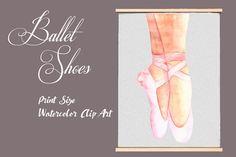 Watercolor Ballet Shoes - Clip Art by Tati Bordiu on @creativemarket