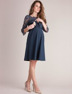 Web Only Seraphine Babydoll Maternity Dress, Navy