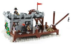 Now for a neat twist on LEGO building. TheBrickAvenger has created a MOC based on a Playmobil set ( My brother and I played with . Lego Pirate Ship, Lego Ship, Legos, Lego Age, Lego Minifigure Display, Micro Lego, Cool Lego Creations, Lego Worlds, Lego Design