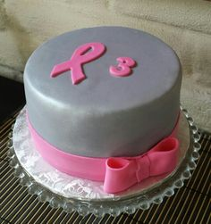 Pink berry cake with pearlized silver fondant and bow..celebrating 3 years of being a breast cancer survivor!!