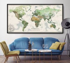 World Map Push Pin, World Map Wall Art, Gifts for men travel , Watercolor Cartography Map Poster Art  (L207)