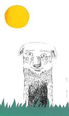 De zeefdruk 'Een grote vriend' van Katja Kaduk, 12 x 19,8 cm, oplage 11, prijs: € 15,00, verkrijgbaar bij http://www.studiozuidwest9.nl/