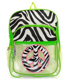 Monogram  Personalize  Clear  Peace sign  Zebra  lime  green  school   backpack for  26.99  Embroidery 5d875a1637529