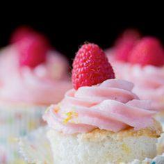 Lemon Angel Food Cupcakes With Raspberry Buttercream