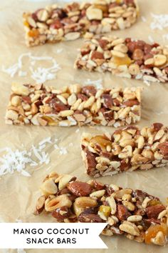 Mango Coconut Snack Bars - I would probably just use all honey, and maybe replace the puffed rice cereal with something else. Otherwise, these sound really good.