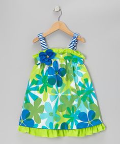 Take a look at this Blue & Lime Floral Ruffle Dress - Toddler by Rare Editions on #zulily today!