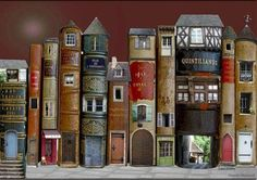 What to do with Old books you don't want to read anymore.Fairy Books (doll house doors and windows in vintage books) library - completely adorable! Old Books, Vintage Books, Scrap Books, Antique Books, Book Art, Book Spine, Fairy Doors, Objet D'art, Book Nooks