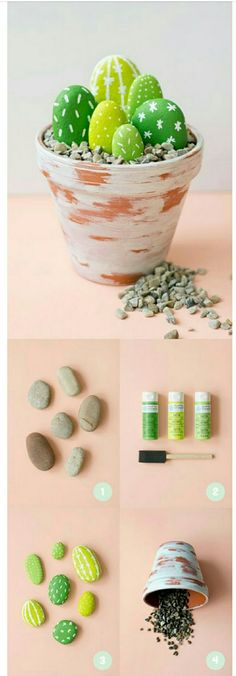 Craft DIY cactus using stones and paint