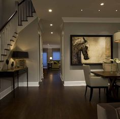Floors and wall color Honore-Transitional Dining Room - contemporary - dining room - chicago - by Michael Abrams Limited Dining Room Wall Decor, Dining Room Design, White Baseboards, Wood Baseboard, Houses Architecture, Traditional Dining Rooms, Dark Wood Floors, Dark Hardwood, Dark Flooring