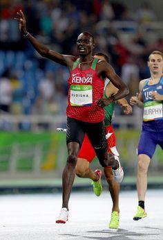 David Lekuta Rudisha of Kenya reacts after winning the gold medal in the Men's…