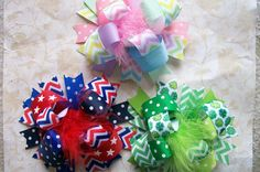 3 Piece SPRING?Summer Holiday Hair Bow Set St. Pats, Easter, and July 4th!!    You will receive 3 large over the top bows measuring around 5.5