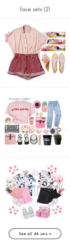 """""""fave sets (2)"""" by symposiums ❤ liked on Polyvore featuring Miu Miu, Quiksilver, Summer, Pink, shorts, shirt, icecream, Muuto, Mini Cream and Chanel"""